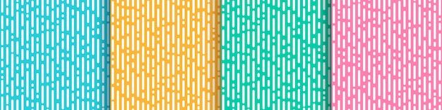 Ensemble De Menthe Verte Rose Jaune Abstraite Et Transition De Lignes Arrondies Verticales Bleu Clair. Vecteur Premium
