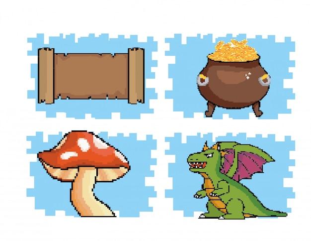 Ensemble de message de parchemin avec pièces de monnaie à l'intérieur du chaudron et champignon avec dragon Vecteur gratuit