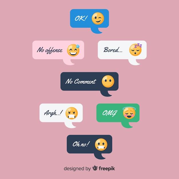 Ensemble de messages avec des émoticônes Vecteur gratuit