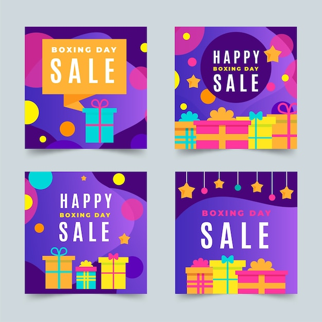 Ensemble de messages instagram boxing day sale Vecteur gratuit