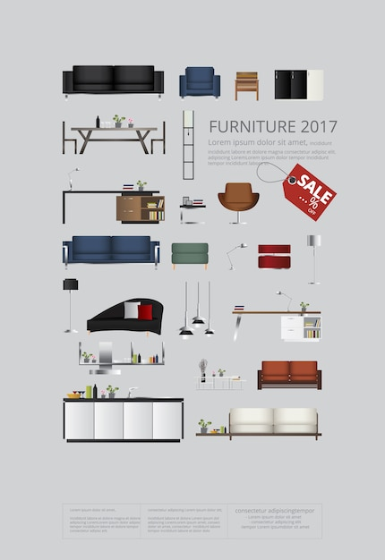 Ensemble de meubles d'illustration vectorielle de canapé Vecteur Premium
