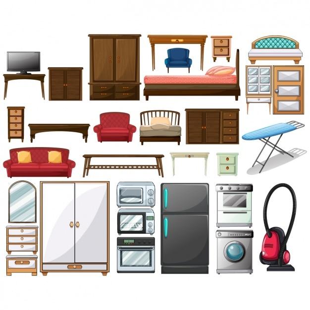 Ensemble de meubles Vecteur Premium