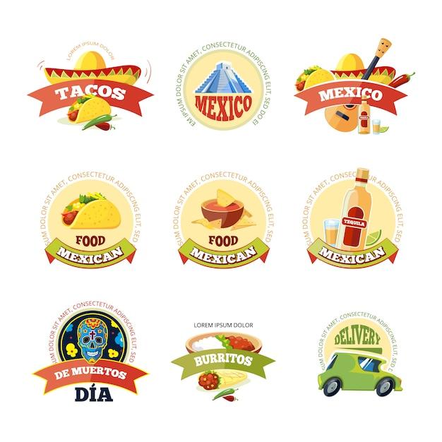 Ensemble mexicain logo et badge. Vecteur Premium