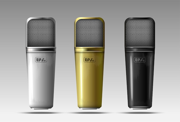Ensemble De Microphones Réalistes Vecteur Premium