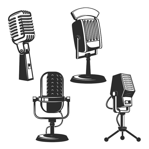 Ensemble de microphones rétro Vecteur Premium