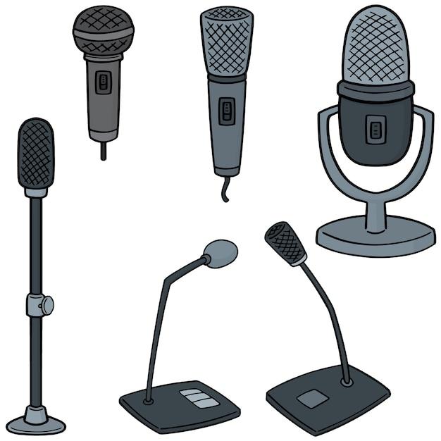 Ensemble De Microphones Vecteur Premium