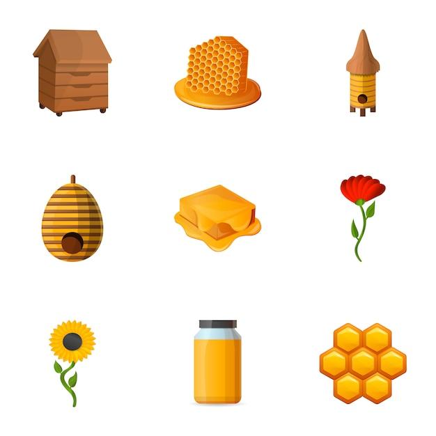 Ensemble de miel, style cartoon Vecteur Premium