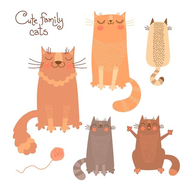 Ensemble mignon avec des chats et des chatons. illustration vectorielle Vecteur Premium