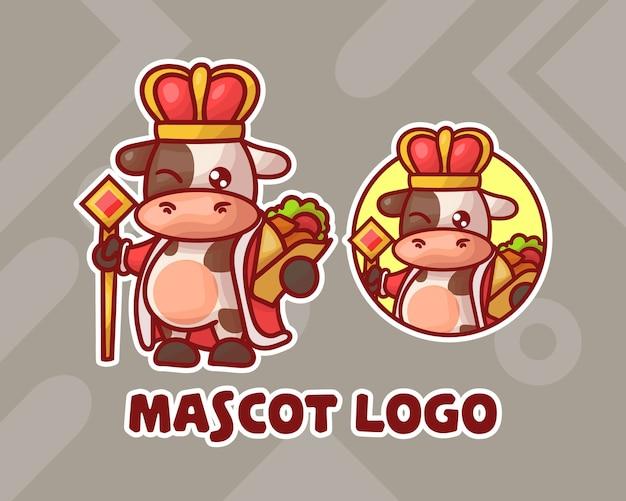 Ensemble, De, Mignon, Kebab, Roi, Vache, Mascotte, Logo Vecteur Premium