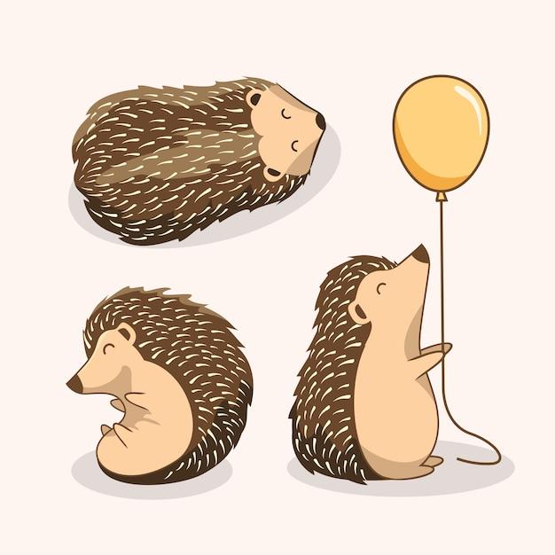 Ensemble mignon de porcin de dessin animé hérisson Vecteur Premium