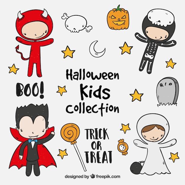 Ensemble de mignons enfants d'halloween Vecteur gratuit