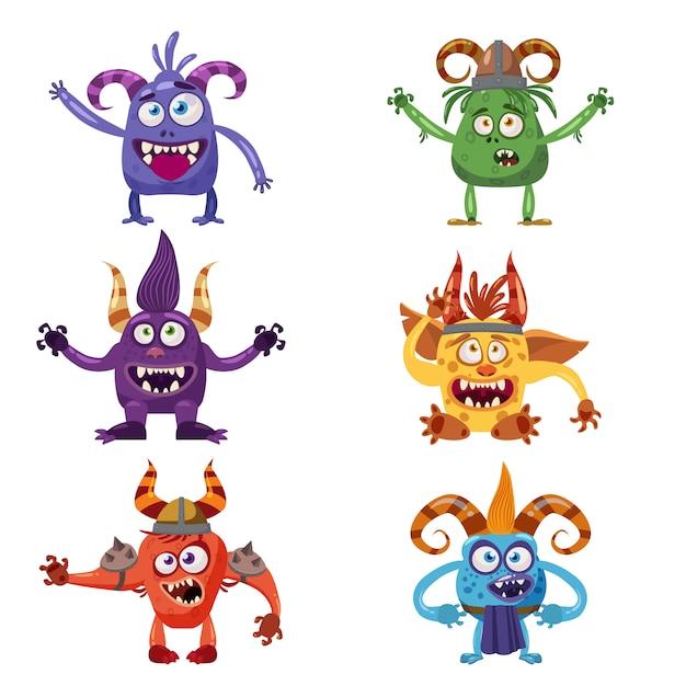 Ensemble de mignons personnages drôles en style cartoon Vecteur Premium