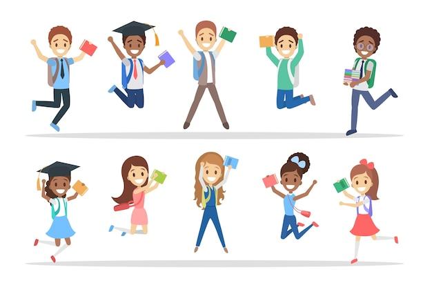 Ensemble De Mignons Petits Enfants De L'école De Saut. Groupe De Garçons Et De Filles Heureux Avec Des Sacs Et Des Livres S'amusant. Illustration Vectorielle Plane Isolée Vecteur Premium