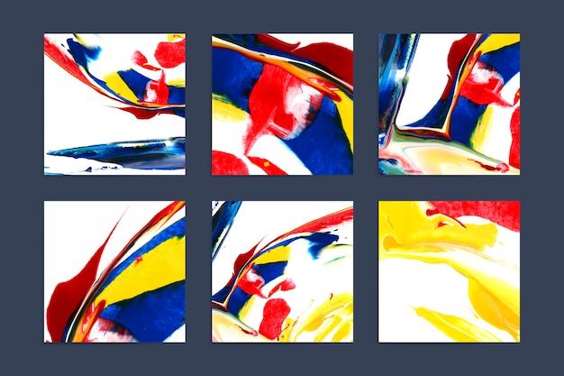 Ensemble de milieux carrés artistiques colorés Vecteur gratuit