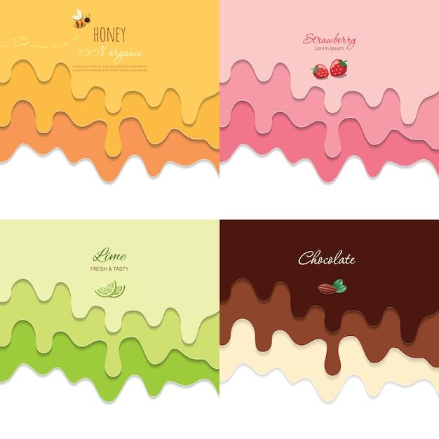 Ensemble De Milieux Fluides Fondus. Papier 3d Découpé En Couches. Vecteur Premium