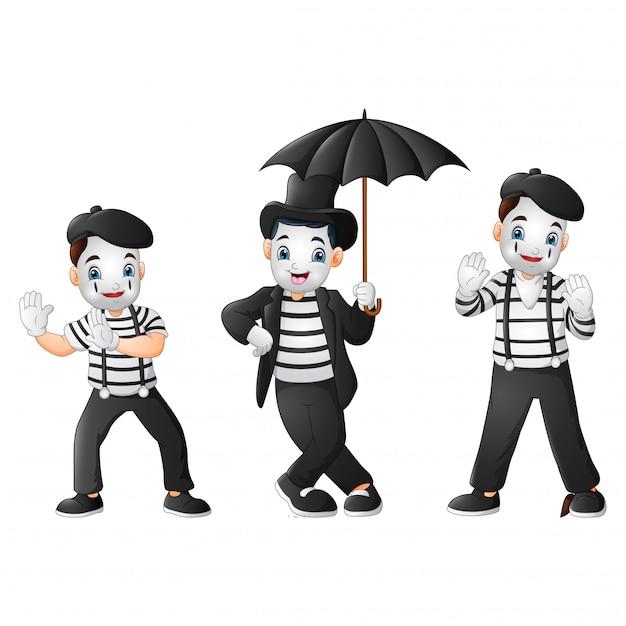 Ensemble De Mimes Exécutant Différentes Pantomimes Vecteur Premium