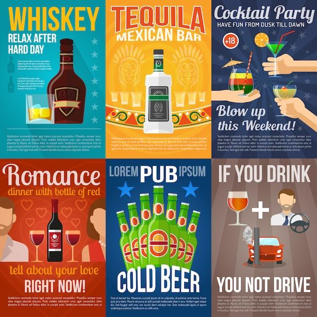 Ensemble de mini affiches alcool Vecteur gratuit