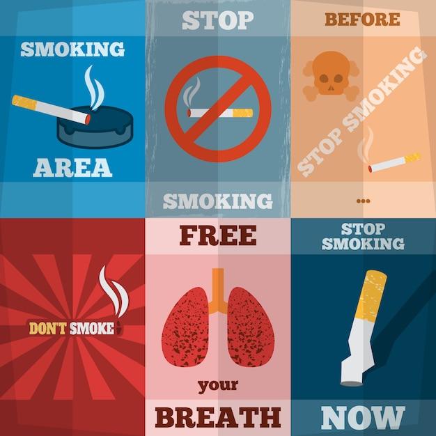 Ensemble de mini affiches à fumer Vecteur gratuit