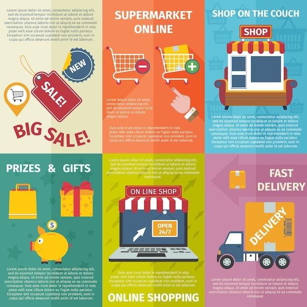 Ensemble de mini affiches shopping Vecteur gratuit