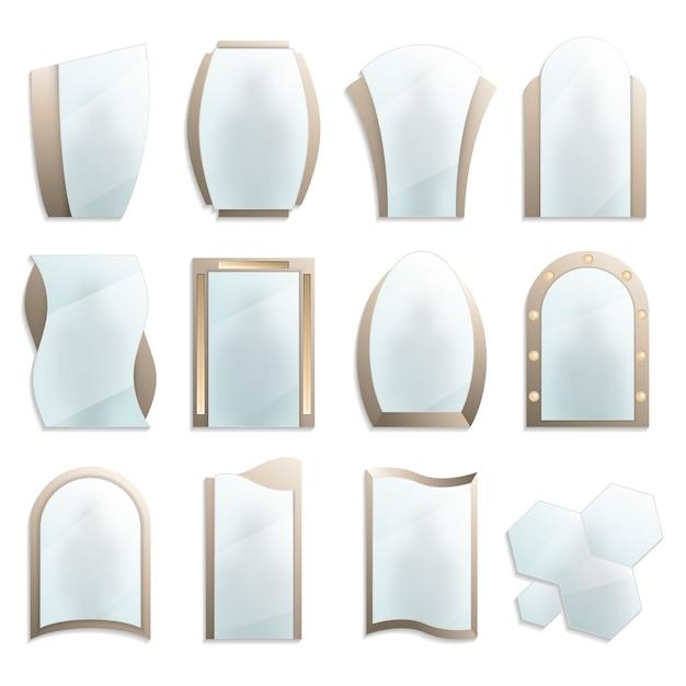 Ensemble de miroirs muraux décoratifs pour la maison Vecteur Premium