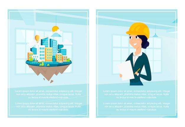Ensemble de la mise en page de la ville et de l'architecte Vecteur Premium