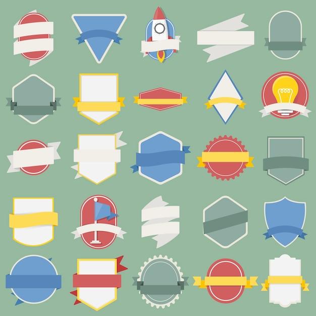 Ensemble mixte d'insignes de drapeau de vaisseau spatial d'ampoule emblème label icône illustration Vecteur gratuit