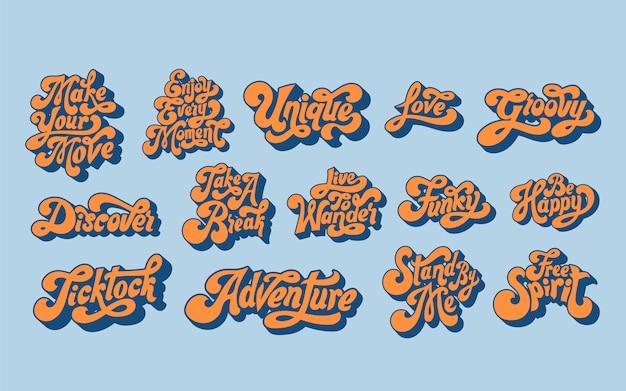 Ensemble mixte de typographie de mots de motivation Vecteur gratuit