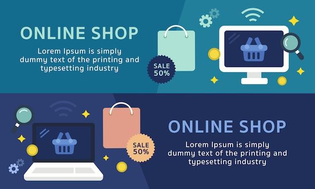 Ensemble de modèle de bannière de magasinage en ligne Vecteur Premium