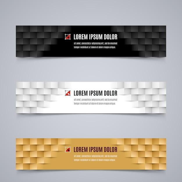 Ensemble De Modèle De Bannières Simples Avec Motif Géométrique Moderne Dans Les Couleurs Blanc, Noir Et Orange Vecteur Premium