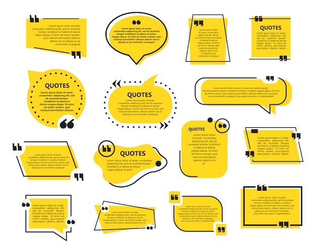 Ensemble De Modèle De Bulles De Devis Dans Un Design Plat Vecteur Premium