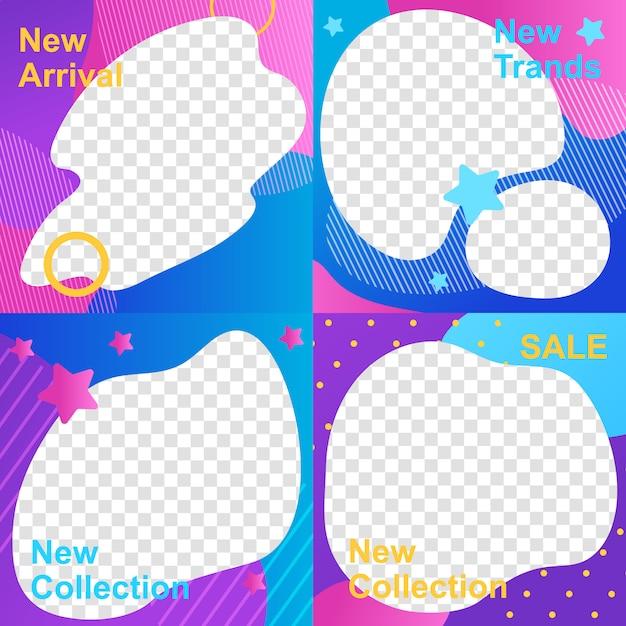 Ensemble de modèle de cadres instagram stories in color abstract design Vecteur Premium