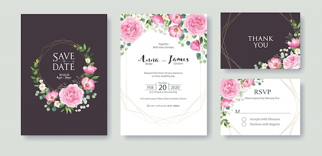 Ensemble de modèle de carte d'invitation de mariage. fleur rose rose Vecteur Premium