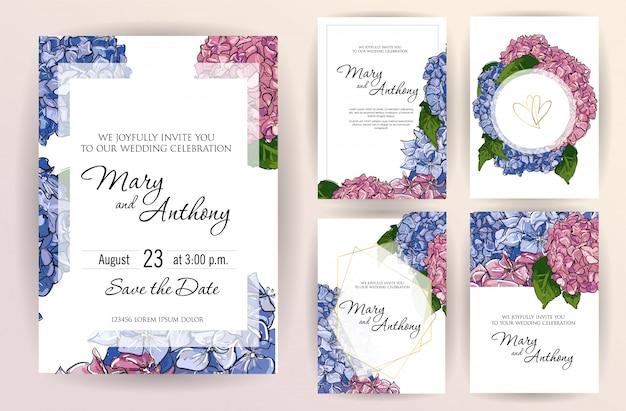 Ensemble de modèle de carte invitation de mariage avec hortensia fleurs. Vecteur Premium