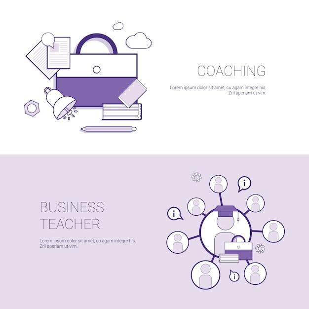 Ensemble de modèle de concept de bannières web de coaching et business enseignant Vecteur Premium