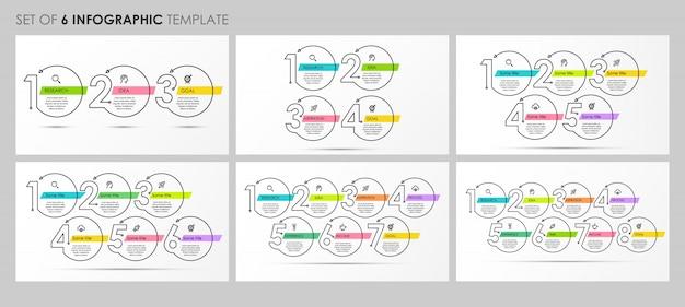 Ensemble De Modèle De Conception Infographique Fine Ligne Avec Des Icônes Et 3, 4, 5, 6, 7, 8 Options Ou étapes. Vecteur Premium