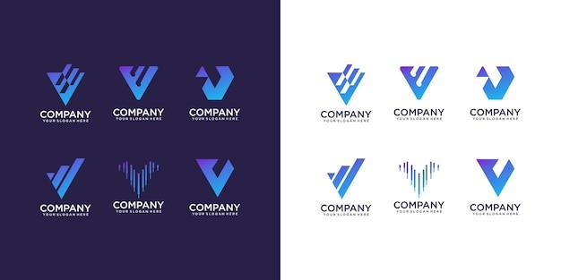 Ensemble De Modèle De Conception De Logo Abstrait Lettre Initiale V Vecteur Premium