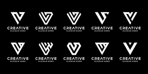 Ensemble De Modèle De Conception De Logo Créatif Monogramme Lettre V. Vecteur Premium