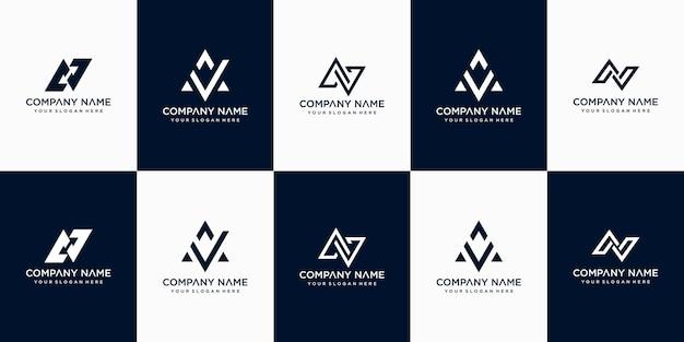 Ensemble De Modèle De Conception De Logo Lettre Av Monogramme Abstrait Créatif Vecteur Premium