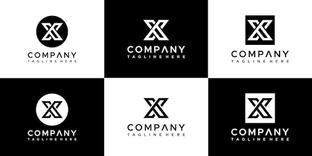 Ensemble De Modèle De Conception De Logo Lettre X Vecteur Premium