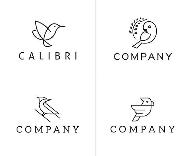 Ensemble de modèle de conception de logo oiseaux Vecteur Premium