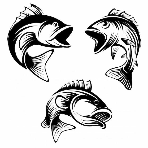Ensemble de modèle de conception de logo de poisson Vecteur Premium