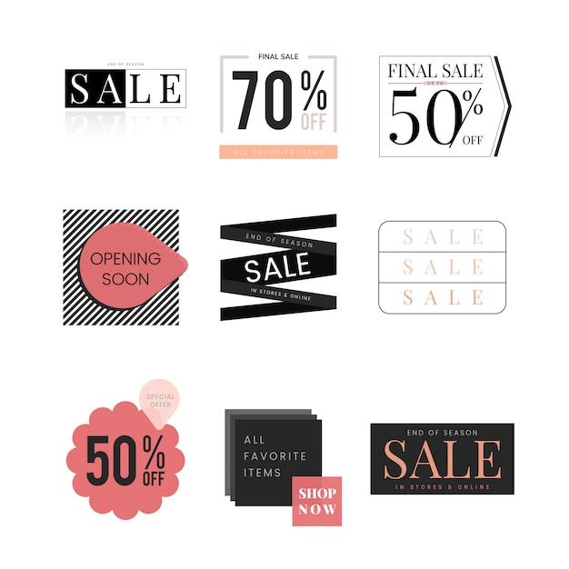 Ensemble de modèle de conception de promotion de vente Vecteur gratuit