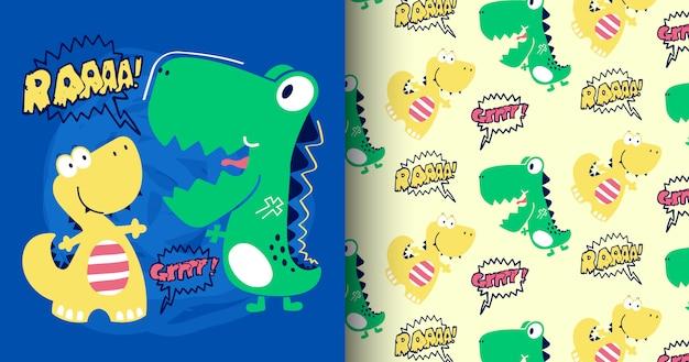 Ensemble de modèle de dinosaure mignon dessiné à la main Vecteur Premium