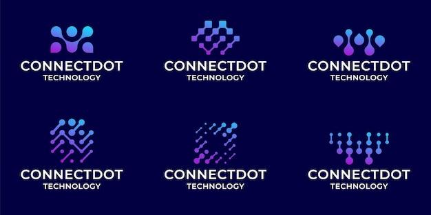Ensemble De Modèle D'inspiration De Collection Logo Technologie Numérique Bundle Vecteur Premium