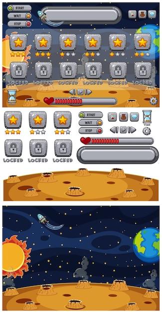 Ensemble de modèle de jeu avec la terre et le soleil Vecteur Premium