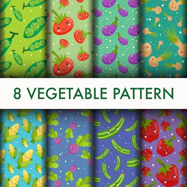 Ensemble de modèle de légumes sans soudure. Vecteur gratuit