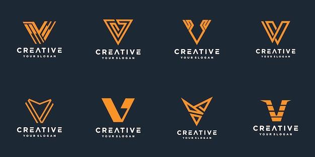 Ensemble De Modèle De Logo Abstrait Lettre Initiale V. Vecteur Premium