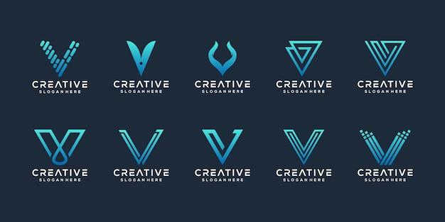 Ensemble De Modèle De Logo Abstrait Lettre Initiale V Vecteur Premium