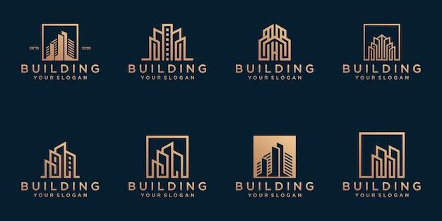 Ensemble De Modèle De Logo De Bâtiment Abstrait Vecteur Premium