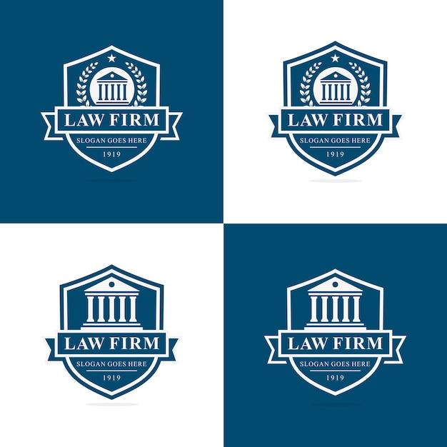 Ensemble de modèle de logo de cabinet d'avocats Vecteur Premium